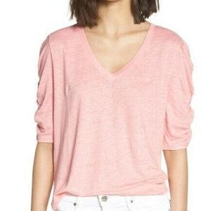 Chelsea 28 Ruched Elbow Sleeve Linen Tee Small
